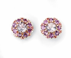 67876 - Amethyst & Tourmaline & Tourmaline Cluster Stud Earrings in 9ct Yellow Gold