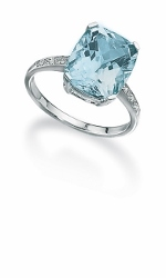 67879 - Blue Topaz & Diamond Ring in 9ct White Gold