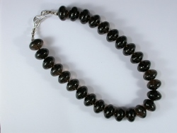 67896 - Smokey Quartz beads with handmade silver clasp fittings