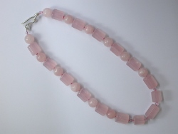 67897 - Rose Quartz beads with handmade silver clasp fittings
