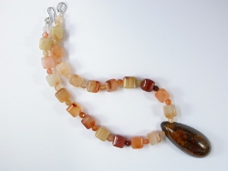 67899 - Cornelian Cubed beads and Amber wood pendant with handmade silver clasp fittings