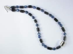 67900 - Kyanite & Iolite beads with handmade silver beads & clasp fittings
