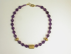 67901 - Amethyst beads with handmade 18ct vermeil silver beads & clasp fittings