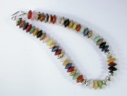67902 - Multi-Hardstone beads with handmade silver clasp fittings