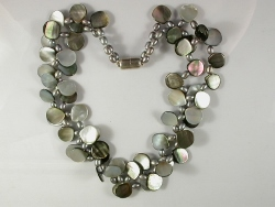 68019 - Grey Mother of Pearl & Freshwater Cultured Pearl Necklace