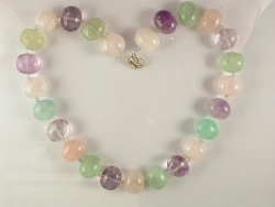 68023 - Amethyst, Rose Quartz & Green Beryl Necklace