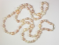 68063 - Long string of White,Pink&Mauve Pearls with silver clasp