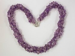 68064 - Amethyst 3row Torsade with silver clasp fitting