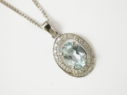 67865 - Aquamarine & Diamond Cluster Pendant in 9ct White Gold