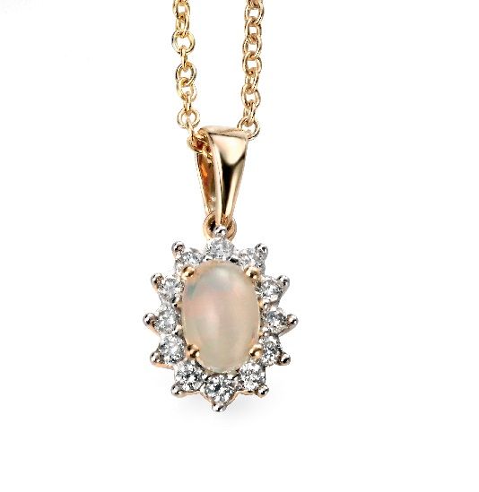 68086 - Opal & Diamond Cluster Pendant in 9ct Gold