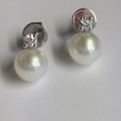 69333 - Cultured Pearl & White & Blue Topaz Earrings in 9ct White Gold