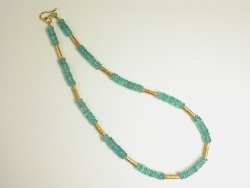68221 - Neon Blue Apatite beads with handmade 18ct Vermeil tube & fittings