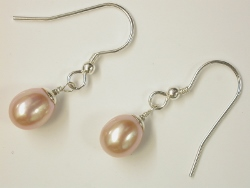 68239 - Peach Naturally Coloured Cultured Pearl Earrings on silver hook fittings