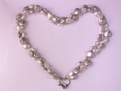 68297 - Freshwater Coin pearl Torsade with Heart clasp