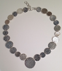 68359 - Handmade hammered coin necklace in Sterling Silver