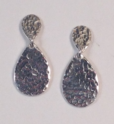 68365 - Handmade Sterling Silver Double Pear shape Drop Earrings