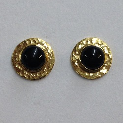 68417 - Handmade 18ct Vermeil Disc Stud Earrings set with Onyx