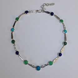 68431 - Handmade sterling silver necklace set with multi stones