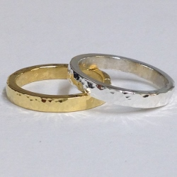 68436 - Handmade  18ct Vermeil & Silver 2 piece Ring set in Sterling Silver