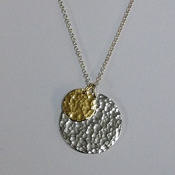 68520 - Handmade Sterling silver hammered Disc pendant with 18ct vermeil accent disc