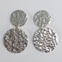 68534 - Handmade Sterling Silver double disc hammered drop earrings