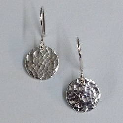 68535 - Handmade Sterling Silver disc hammered drop earrings