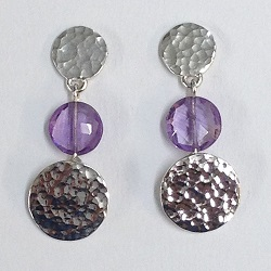 68539 - Handmade Sterling Silver & Amethyst drop earrings