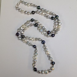 68544 - Extra Long Grey & Peacock pearls with handmade sterling silver fittings