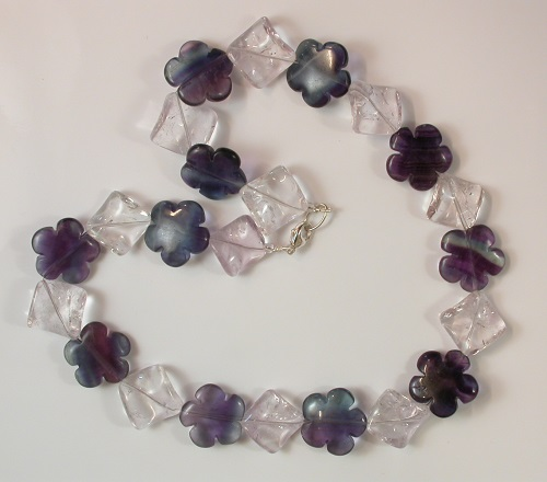 68579 - Fluorite flower & rock crystal necklace with silver clasp fitting