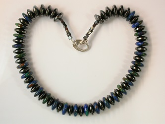 68581 - Azure Malachite & Hematite Necklace