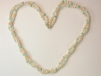 68665 - Neon Apatite & Pearl Torsade with silver clasp