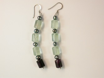 68667 - Fluorite & Pearl Drop Earrings in Sterling Silver