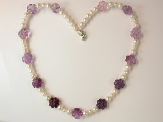 68669 - Fluorite & Pearl Necklace with silver clasp