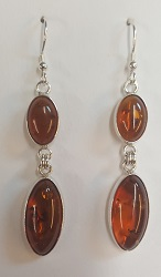 68726 - Amber double Drop Earrings in Sterling Silver