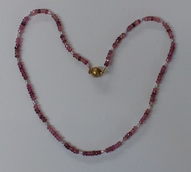 68733 - Pink Tourmaline & Pearl Necklace with magnetic clasp