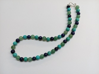 68868 - Lapis, Turquoise & Aventurine beads necklace with handmade silver fittings