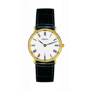 68972 - Michel Herbelin Small sized Yellow Gold Plated Slimline Strap Watch