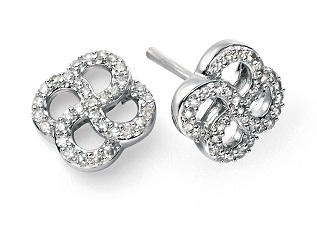 68994 - Art Nouveau style Diamond Cluster Stud Earrings in 9ct White Gold
