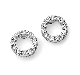 68995 - Open Circle Diamond Cluster Stud Earrings in 9ct White Gold