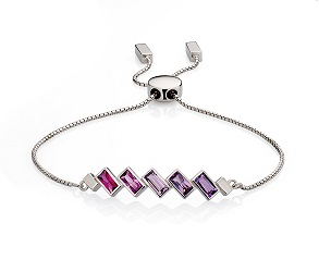 68997 - Fiorelli Pink & Purple Multi-stone Bracelet in Sterling Silver