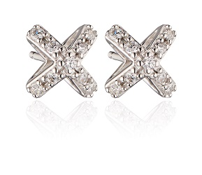 69002 - Fiorelli CZ set Cross shaped Stud Earrings in Sterling Silver