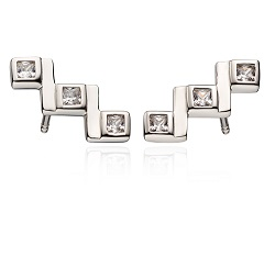 69003 - Fiorelli Triple CZ Stud Earrings in Sterling Silver