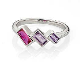 69009 - Fiorelli Pink & Purple Multi-stone ring in Sterling Silver