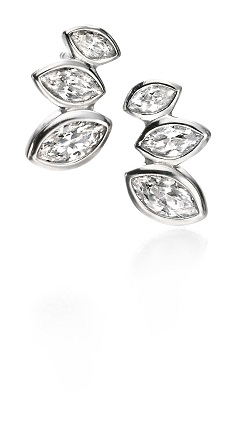 69017 - Fiorelli CZ Marquise cluster Stud Earrings in Sterling Silver