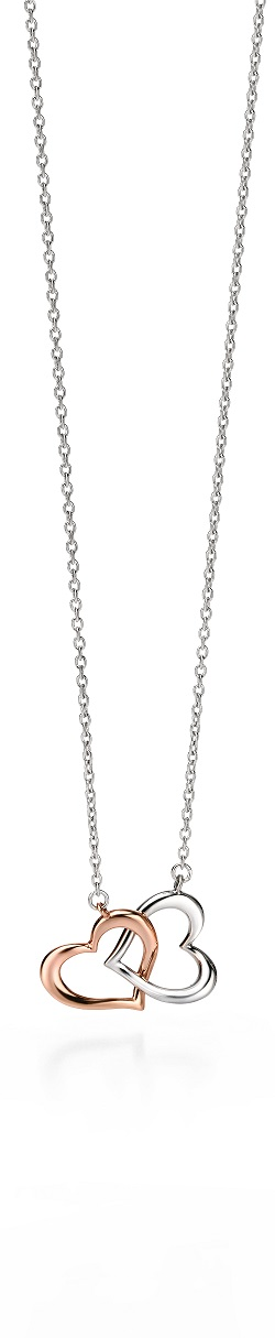 69018 - Fiorelli Entwined Hearts necklace in Sterling Silver