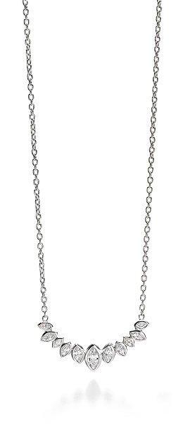 69019 - Fiorelli CZ Marquise shaped Multi-stone necklace in Sterling Silver