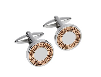 69027 - Cufflinks in Steel with rose gold plated inlay