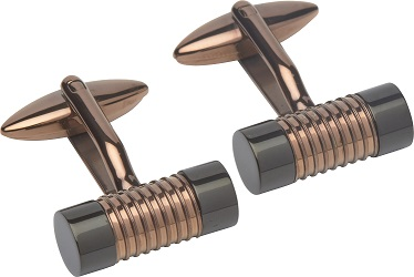 69028 - Bronzed & Rose Gold Plated Cufflinks in Steel