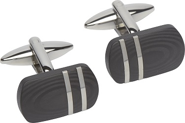 69030 - Carbon Composite Lozenge Cufflinks in Steel