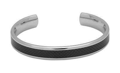 69033 - Carbon Fibre inlaid Torq Bangle in steel